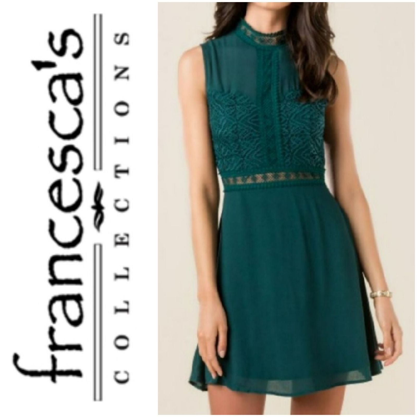 Francesca's Veronica Lace Dress Emerald