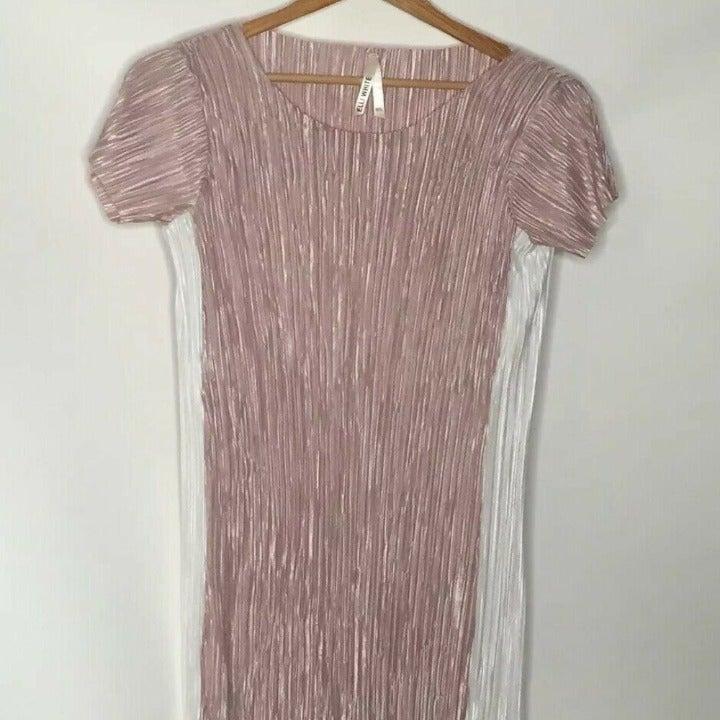 Elli White Pink & White Midi Shift Dress