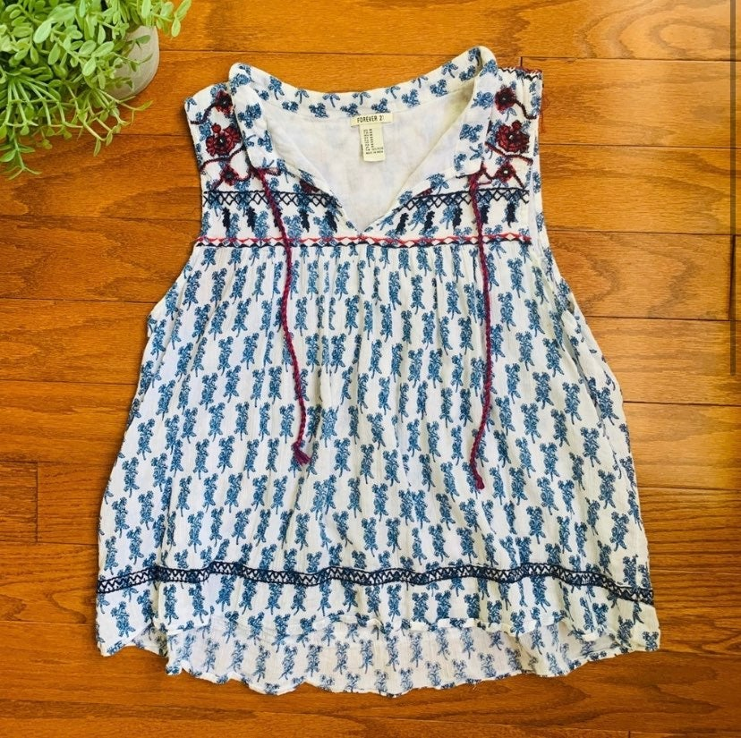 Forever 21 Embroidered Smocked Tank Top