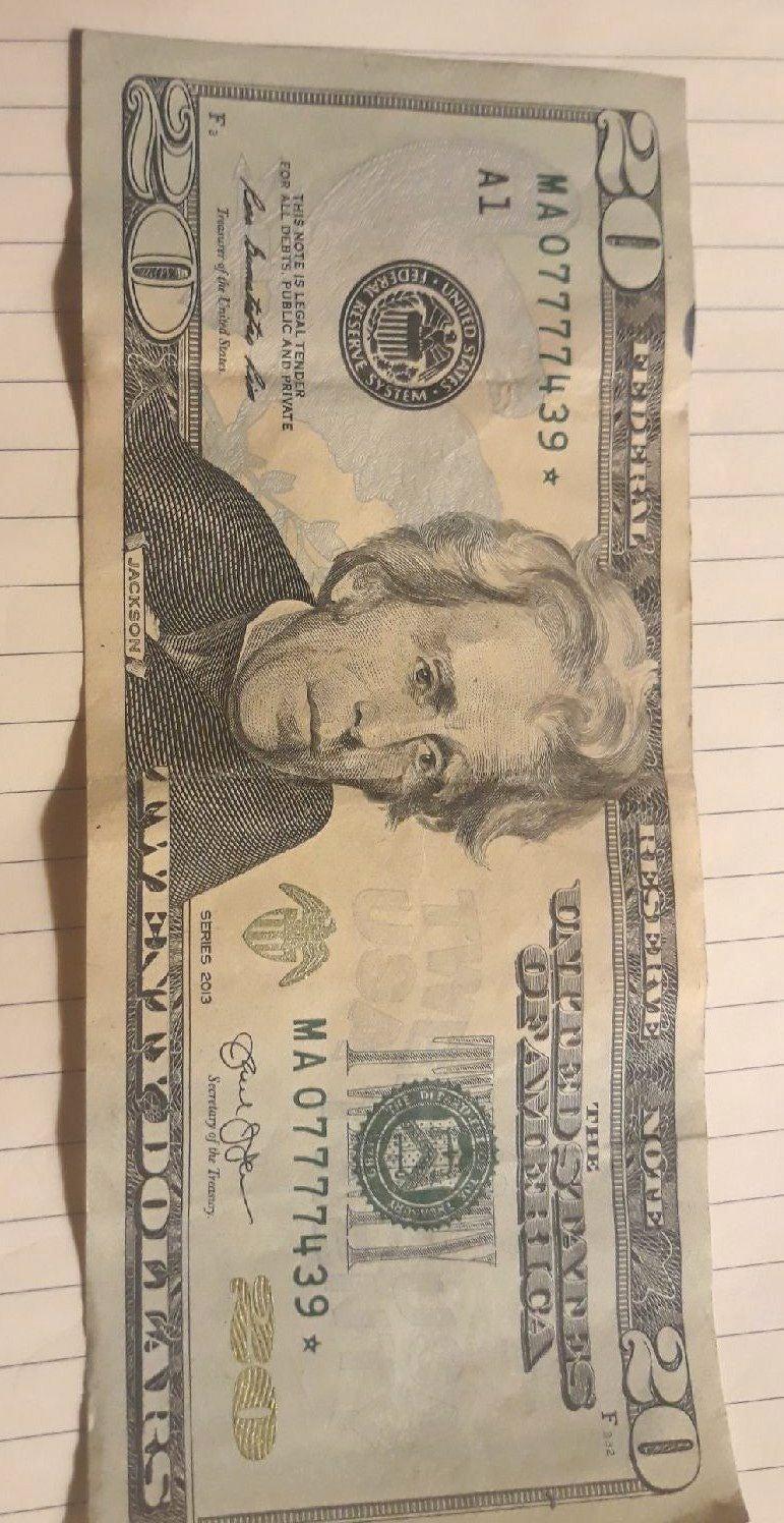 20$ Star Dollar 7777 in serial number