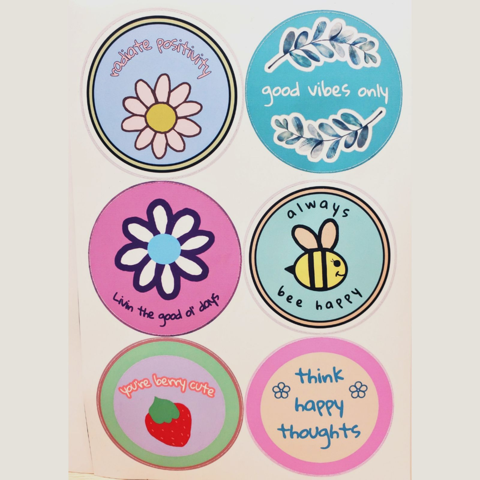 Pack of 6 positivity stickers