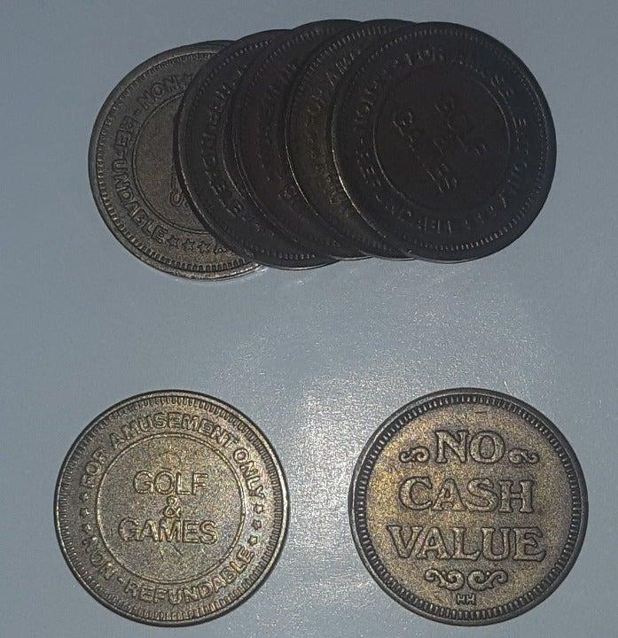 8 Vintage Golf Games Arcade Tokens Coins