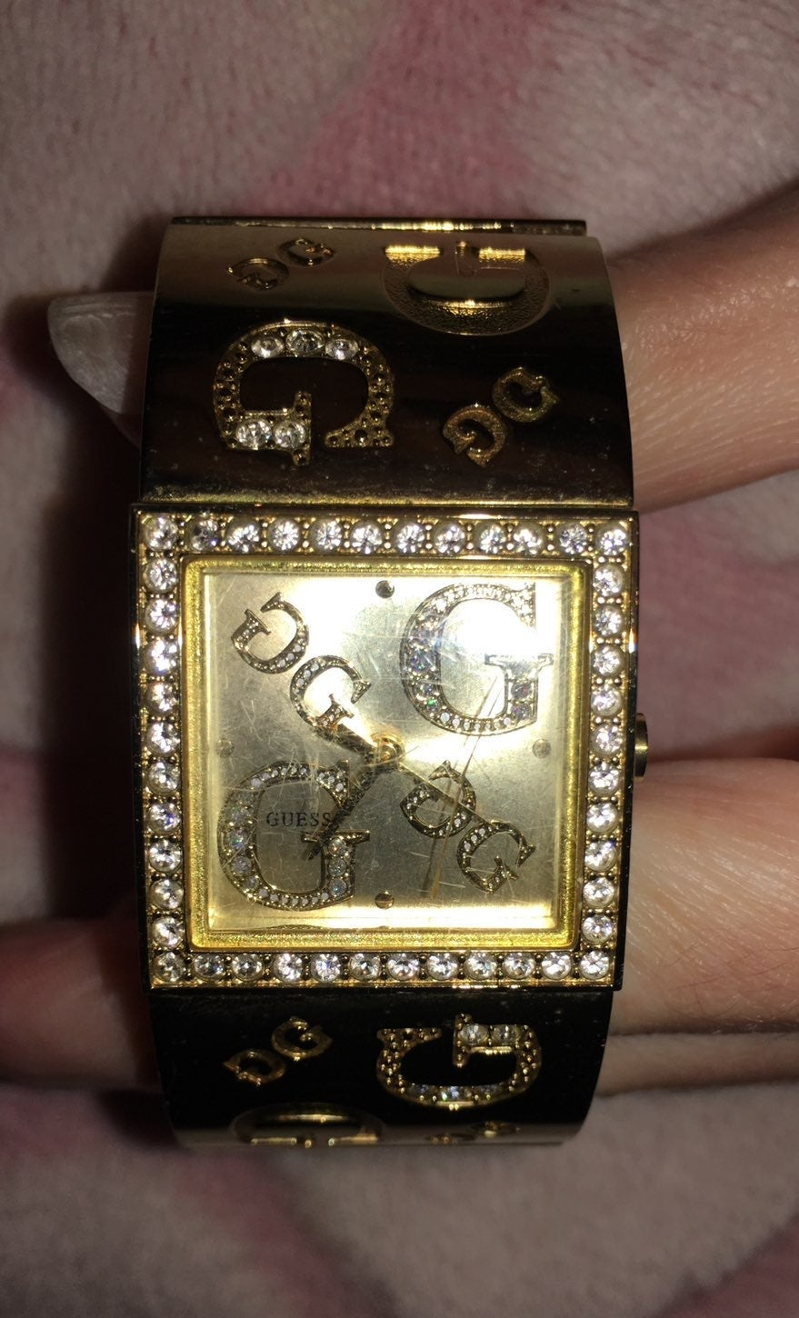 Guess womens gold tone Crystal watch