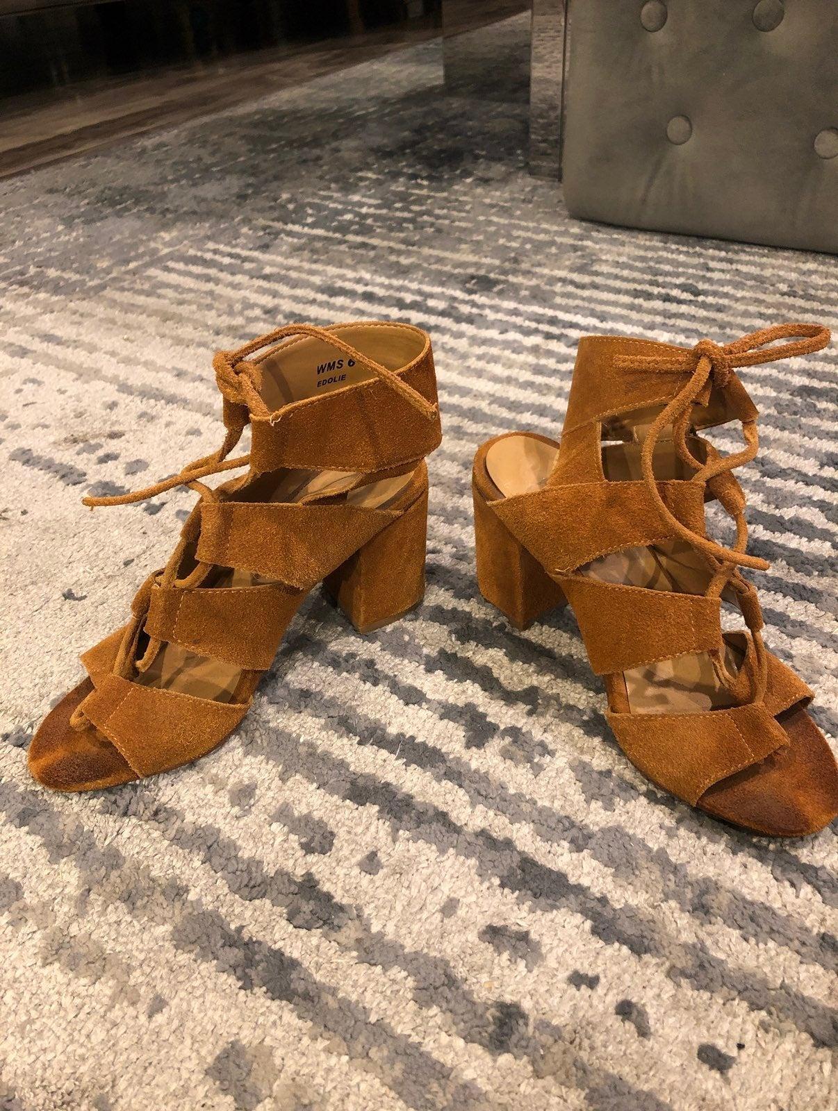 Faux suede sandals