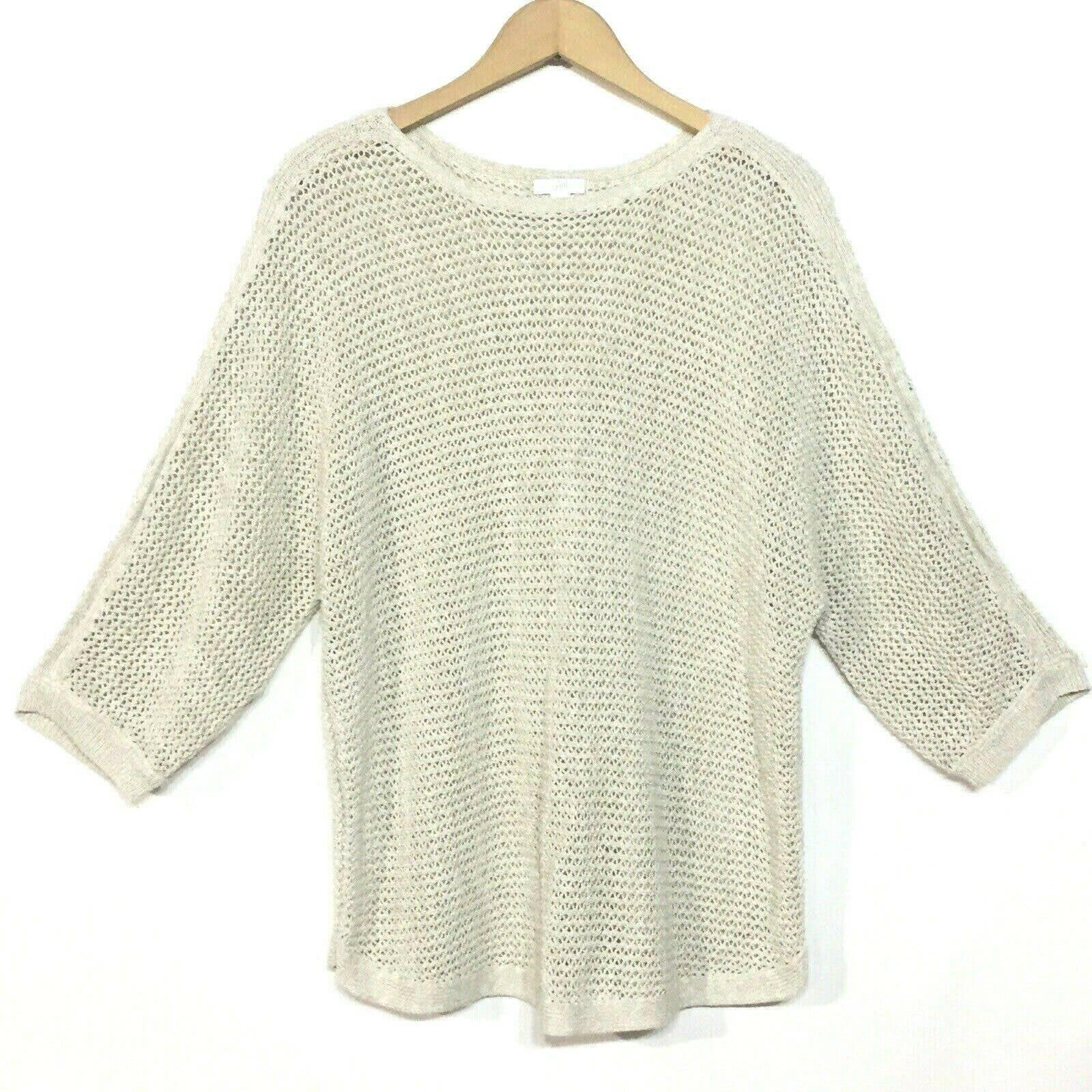 J Jill Crochet 3/4 Sleeve Beige Sweater