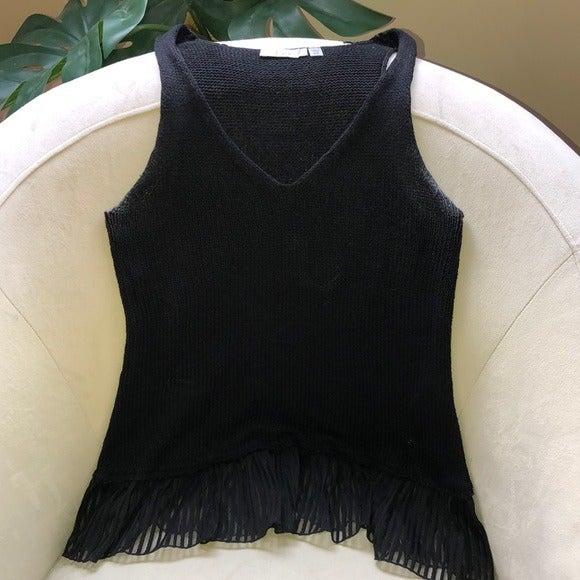 Dex sweater tank with sheer trim detail