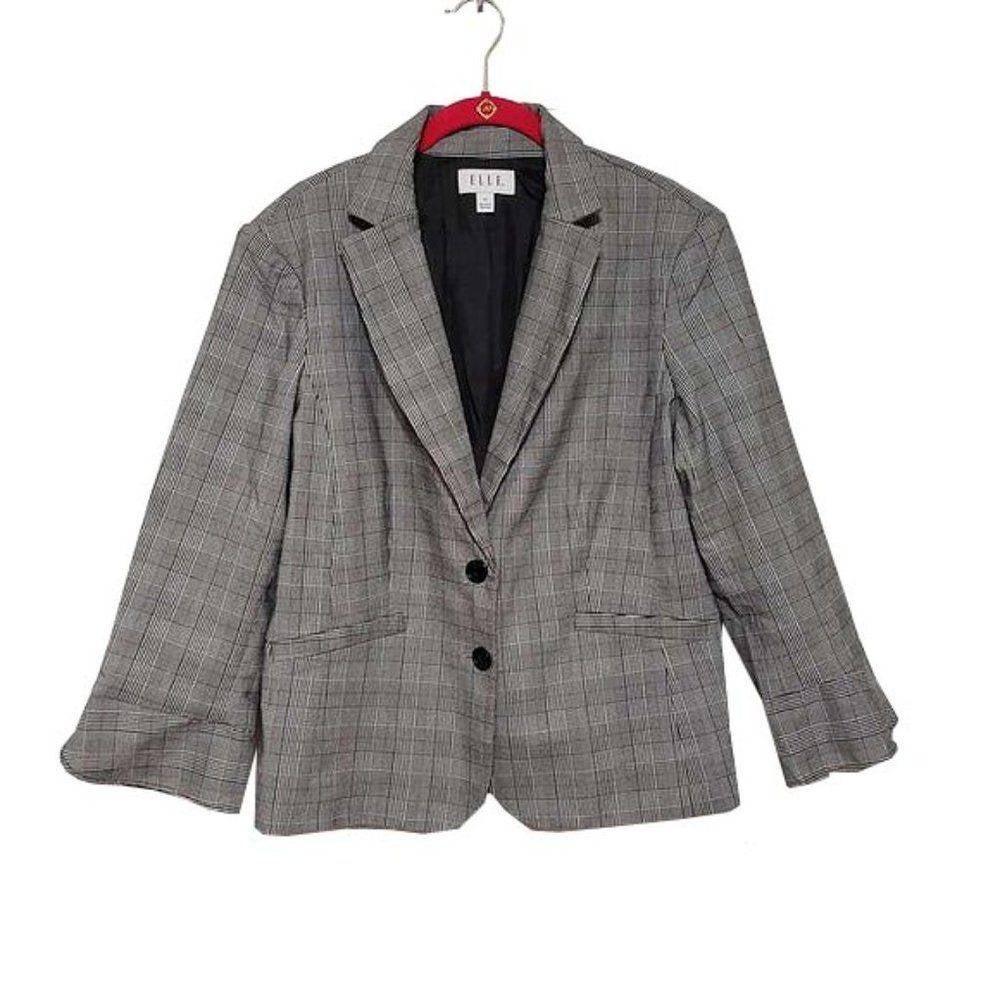 ELLE Ruched-Sleeve Tweed Blazer