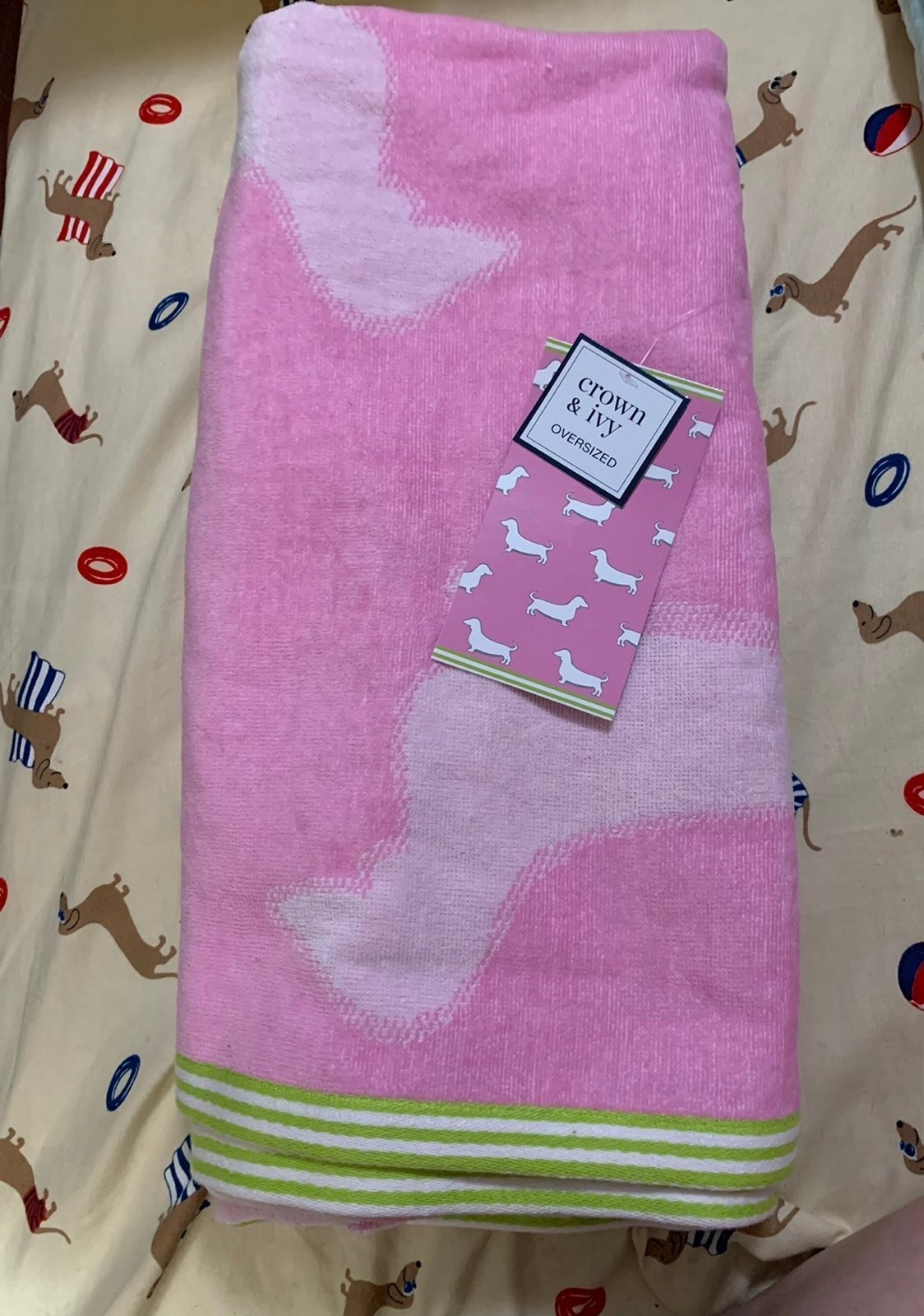 Crown and Ivy Pink Dachshund towel