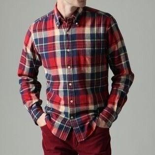 Gant Syracuse Twill Red Plaid Shirt L