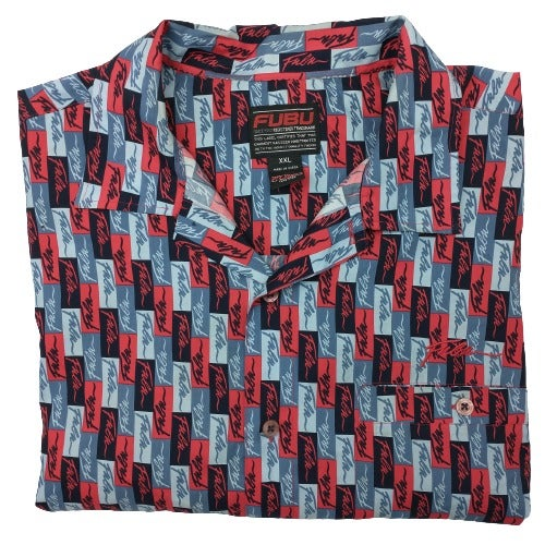 Fubu Blue Red All Over Print Short Sleev