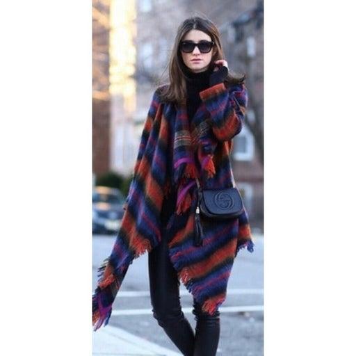 Anthro HEI HEI Tartan Plaid Blanket Coat