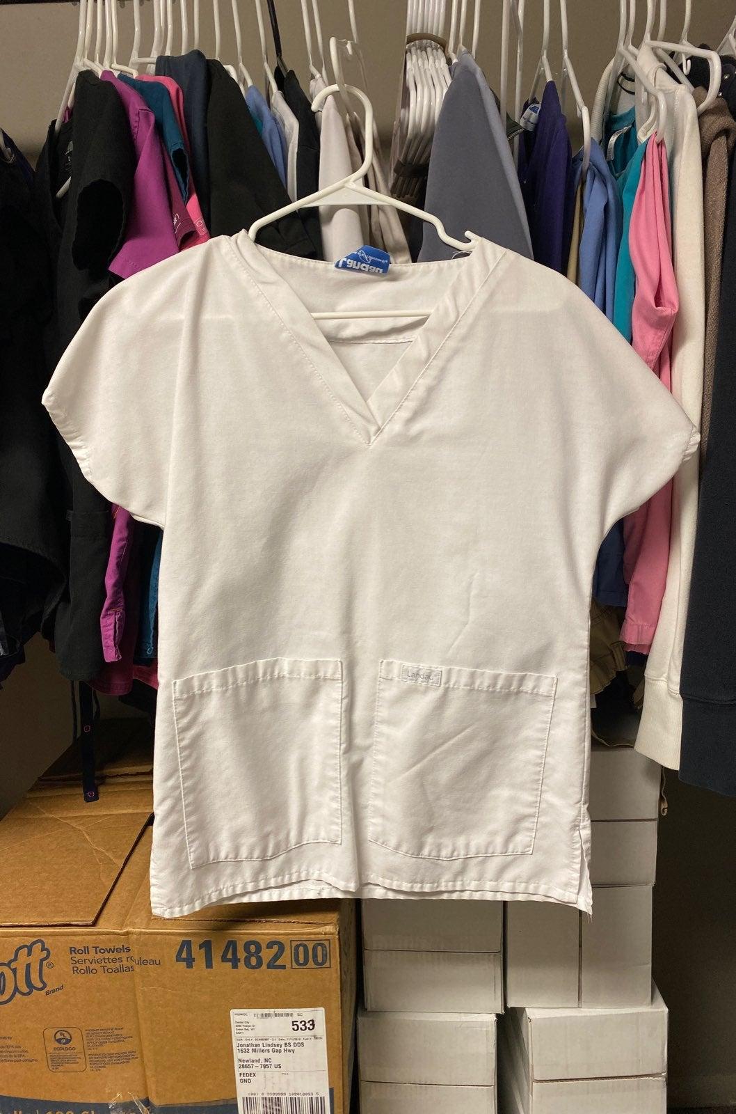 Landau white scrub top small