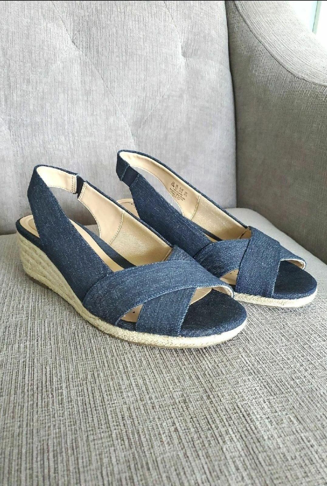 Size 7.5 Denim Womens Wedge Heels Abella