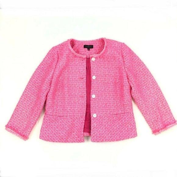 Talbots Blazer Hot Pink Tweed Fringe 10