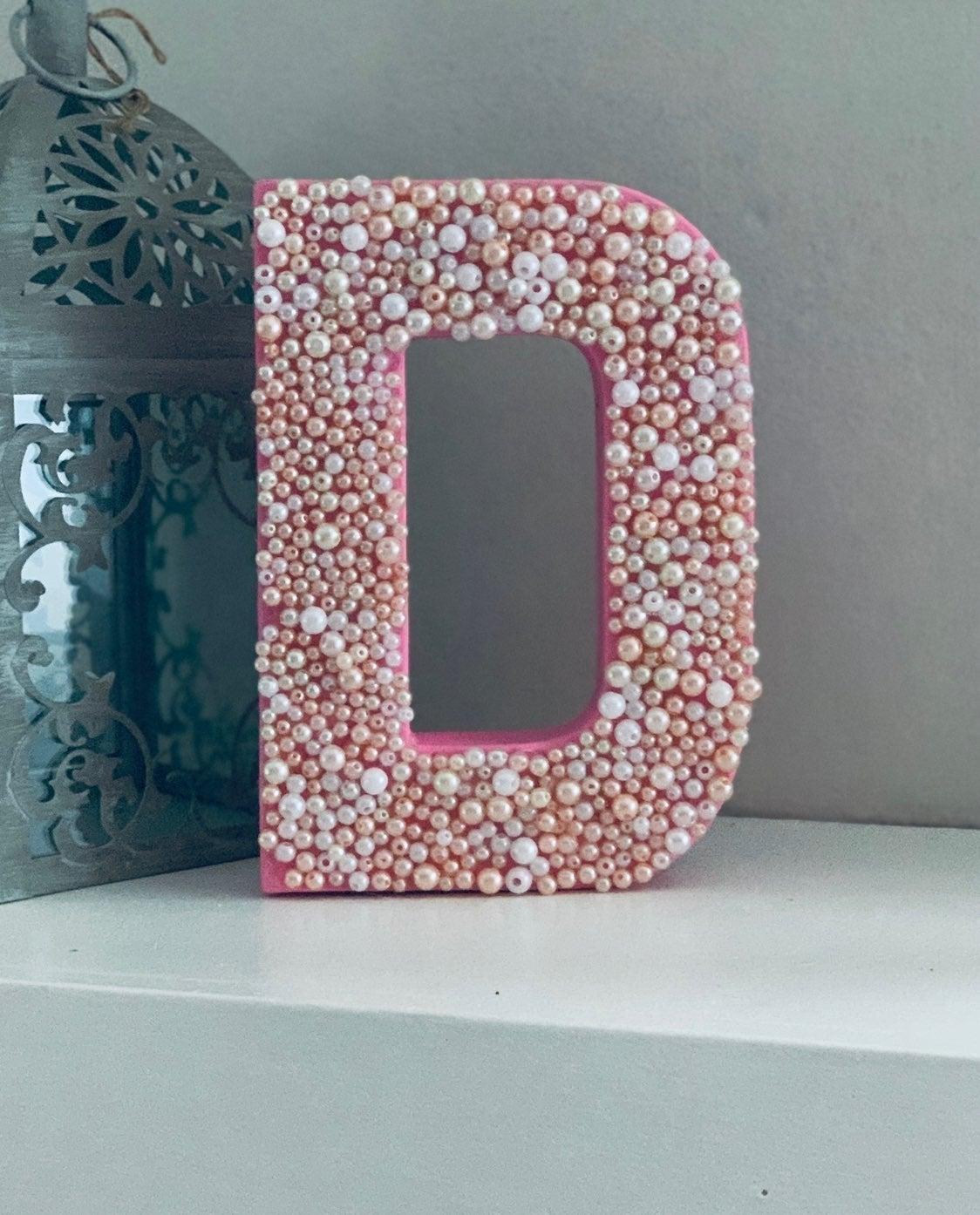 """Handmade D 8"""" Letter Decor Pearls"""