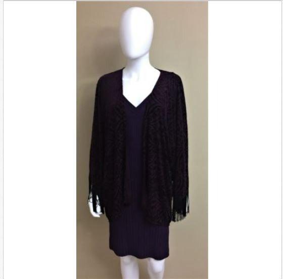 Cache Purple Over Wrap Black Fringe M/L