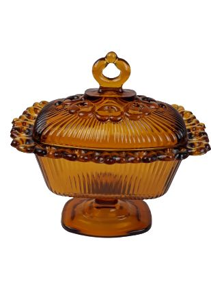 VTG Indiana glass candy dish & lid Amber