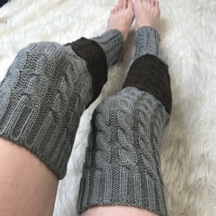 Gray Brown Sweater Cable Knit Leg Socks