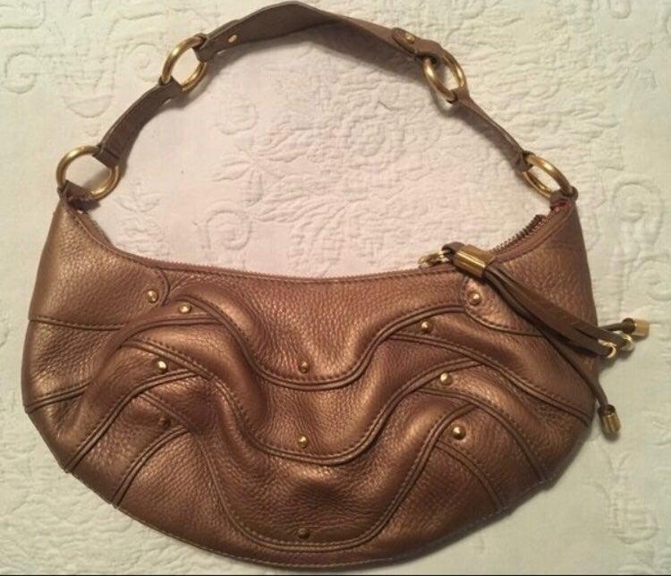 Cole Haan Gold Leather Shoulder Handbag!