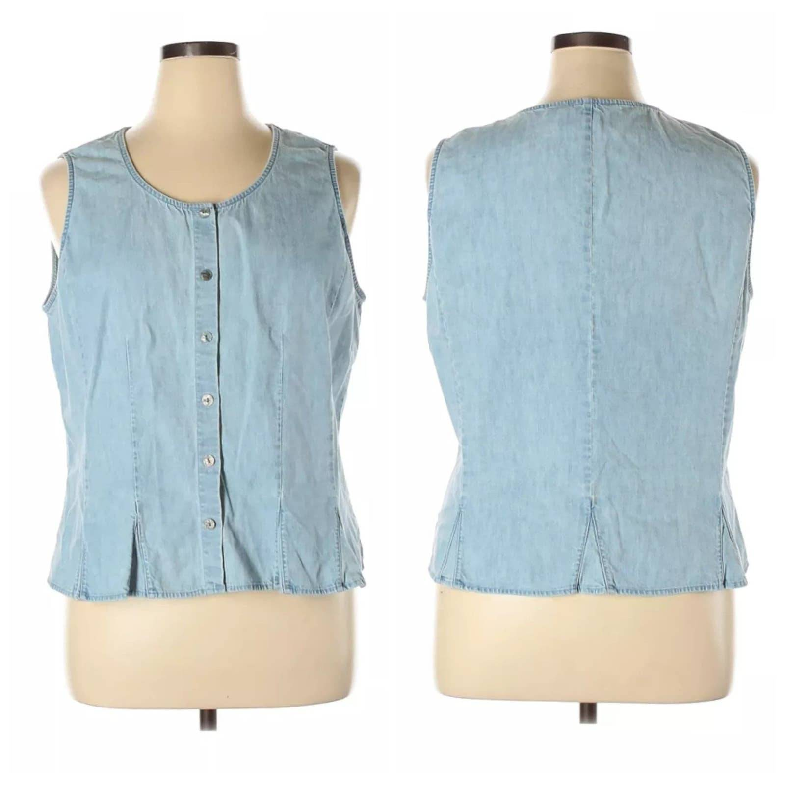 J Jill Button Up Chambray Vest Sz XL