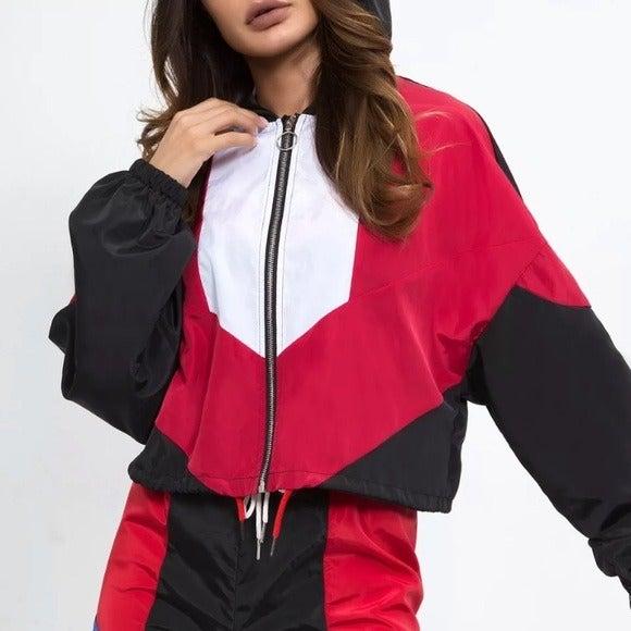 Zipper Crop Hoodie in Red/Black/White