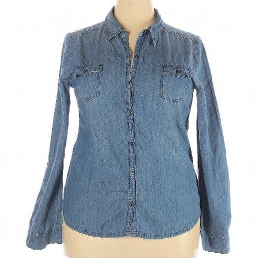 2XL lght wash denim shirt bling shoulder