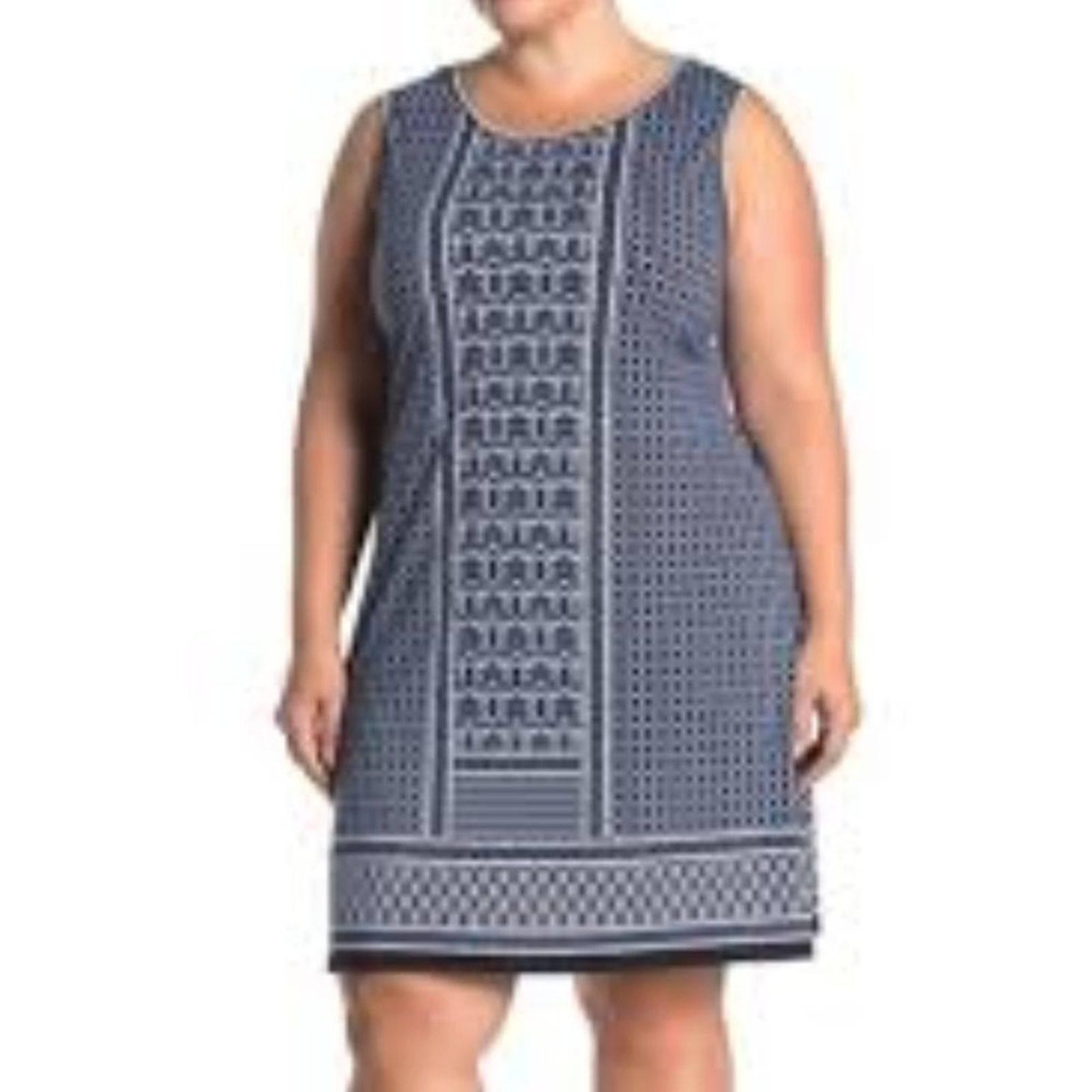 Max Studio Blue Sleeveless Trapeze Dress