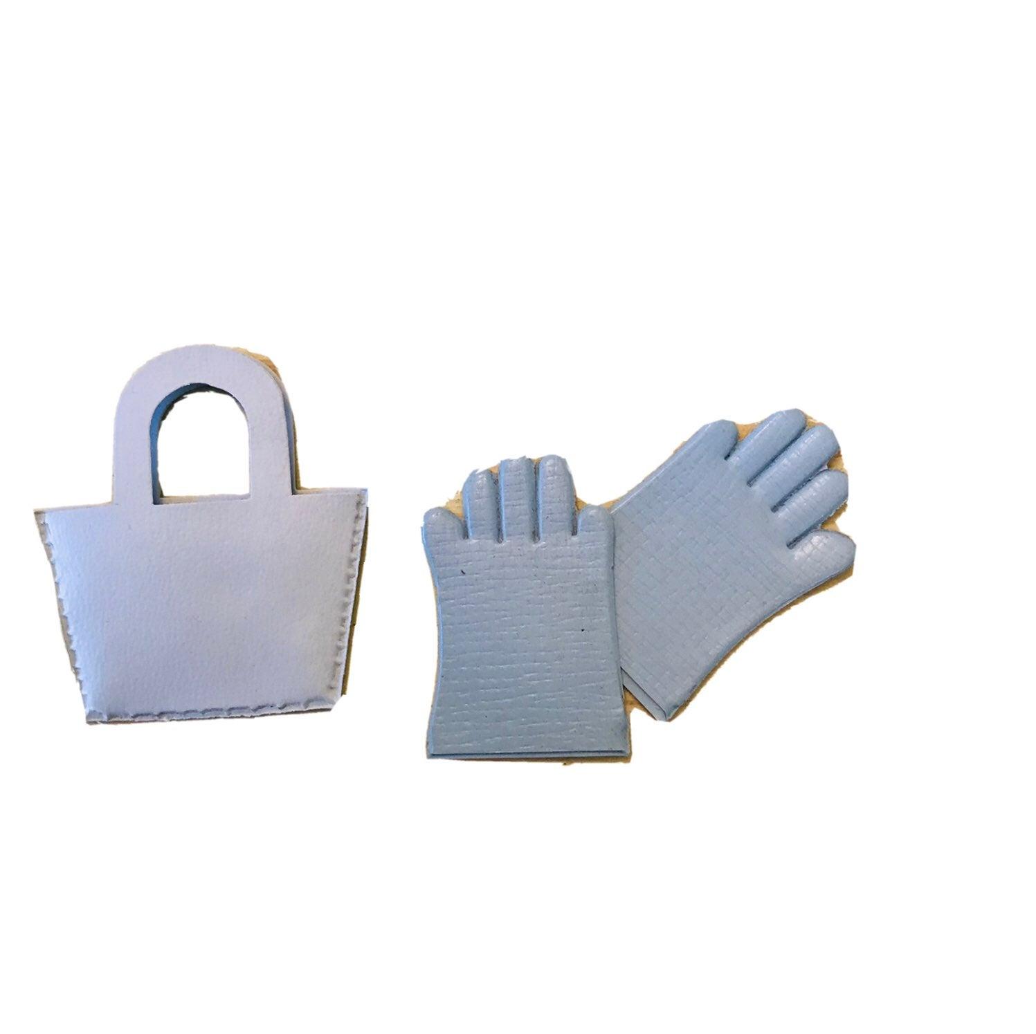Vintage Doll Purse + Gloves Blue 1950s