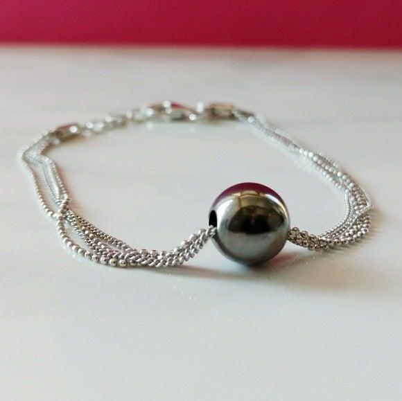 S925 Multiple String Black Bead Bracelet
