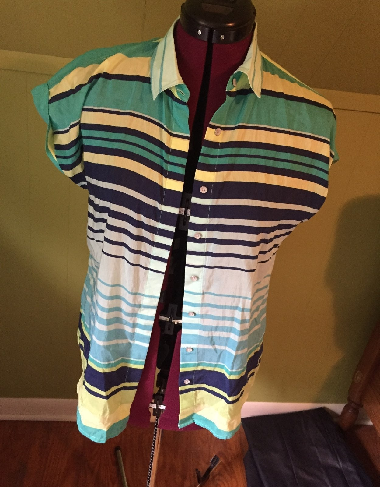 striped button up short sleeve