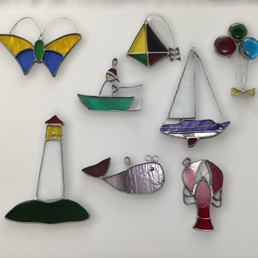 Staned glass ornaments summer theme VTG