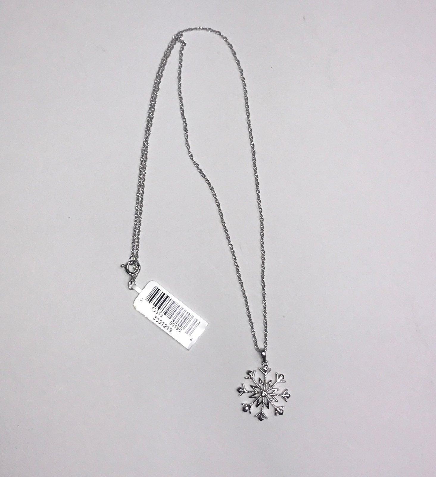 Sterling Diamond Snowflake Necklace
