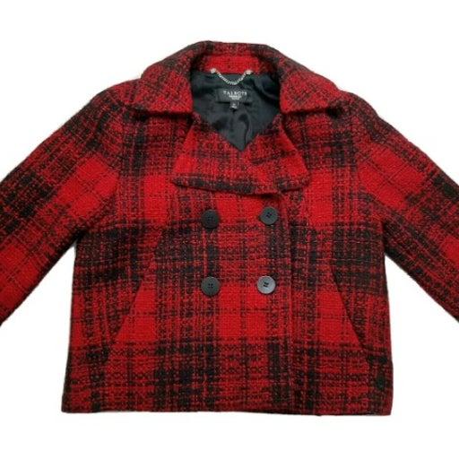 Talbots Red Plaid Tweed Cropped Jacket