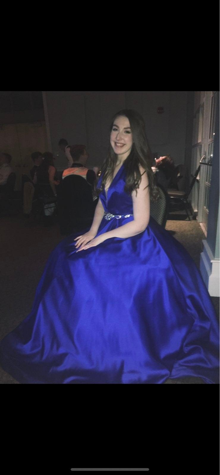 Sherri Hill dark blue prom dress