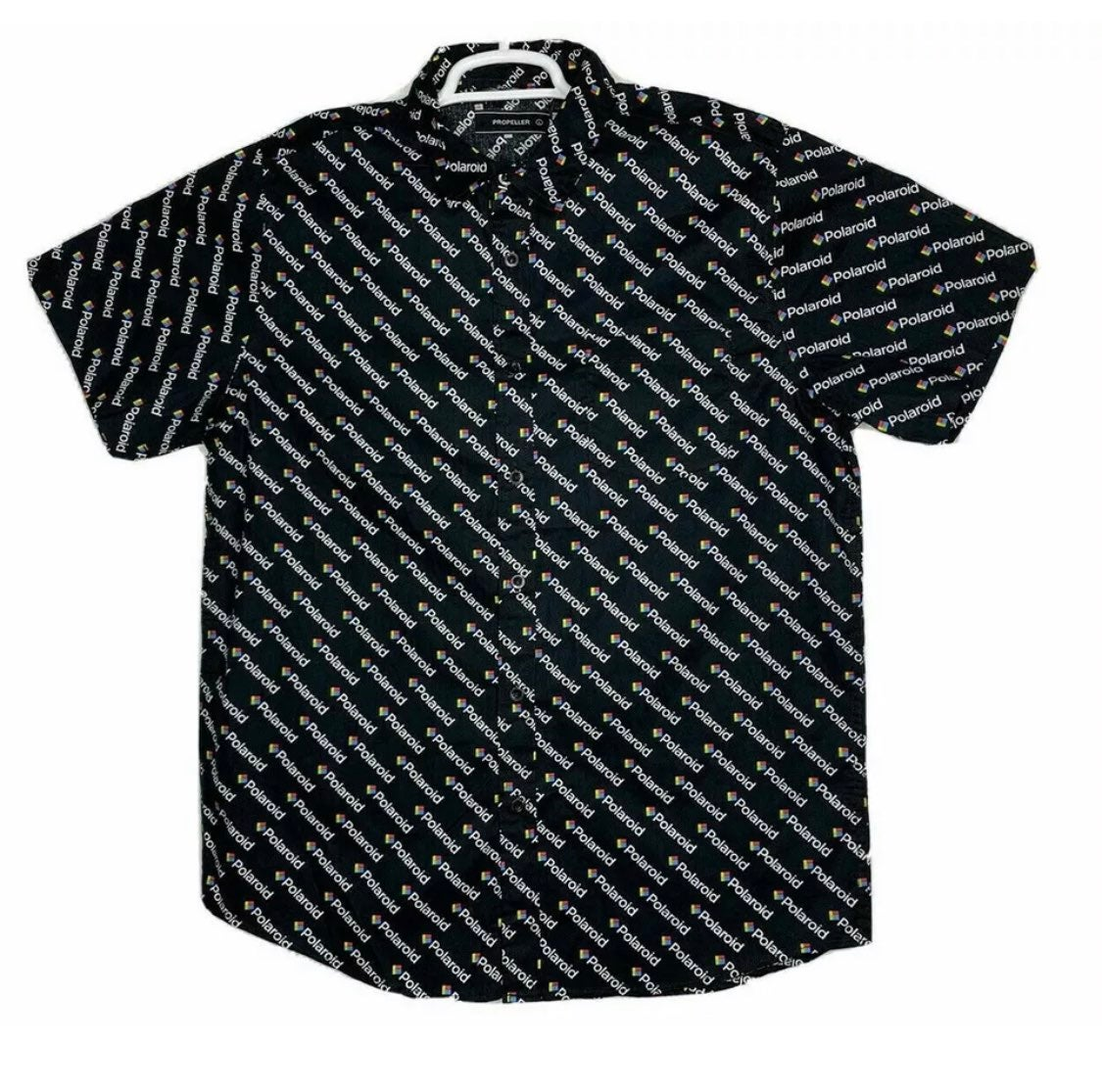 Polaroid Logo Button Down Shirt black L