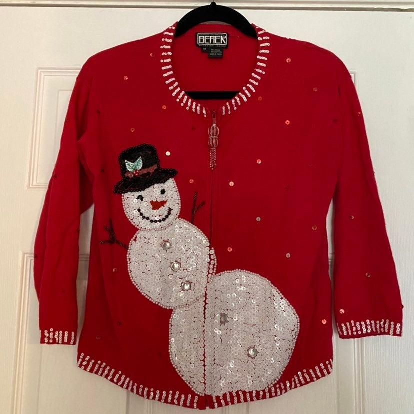 Vintage Berek Christmas Sweater Snowman