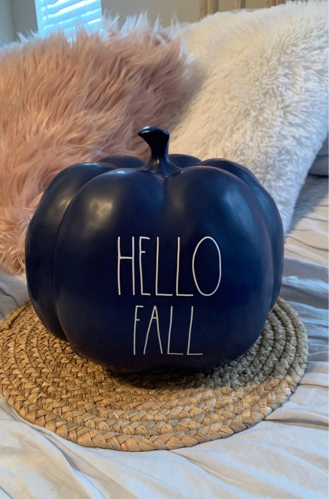 Rae Dunn Large Hello Fall Blue Pumpkin