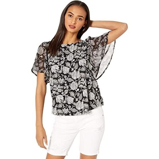 Lucky Brand Printed Woven Mix Top XL