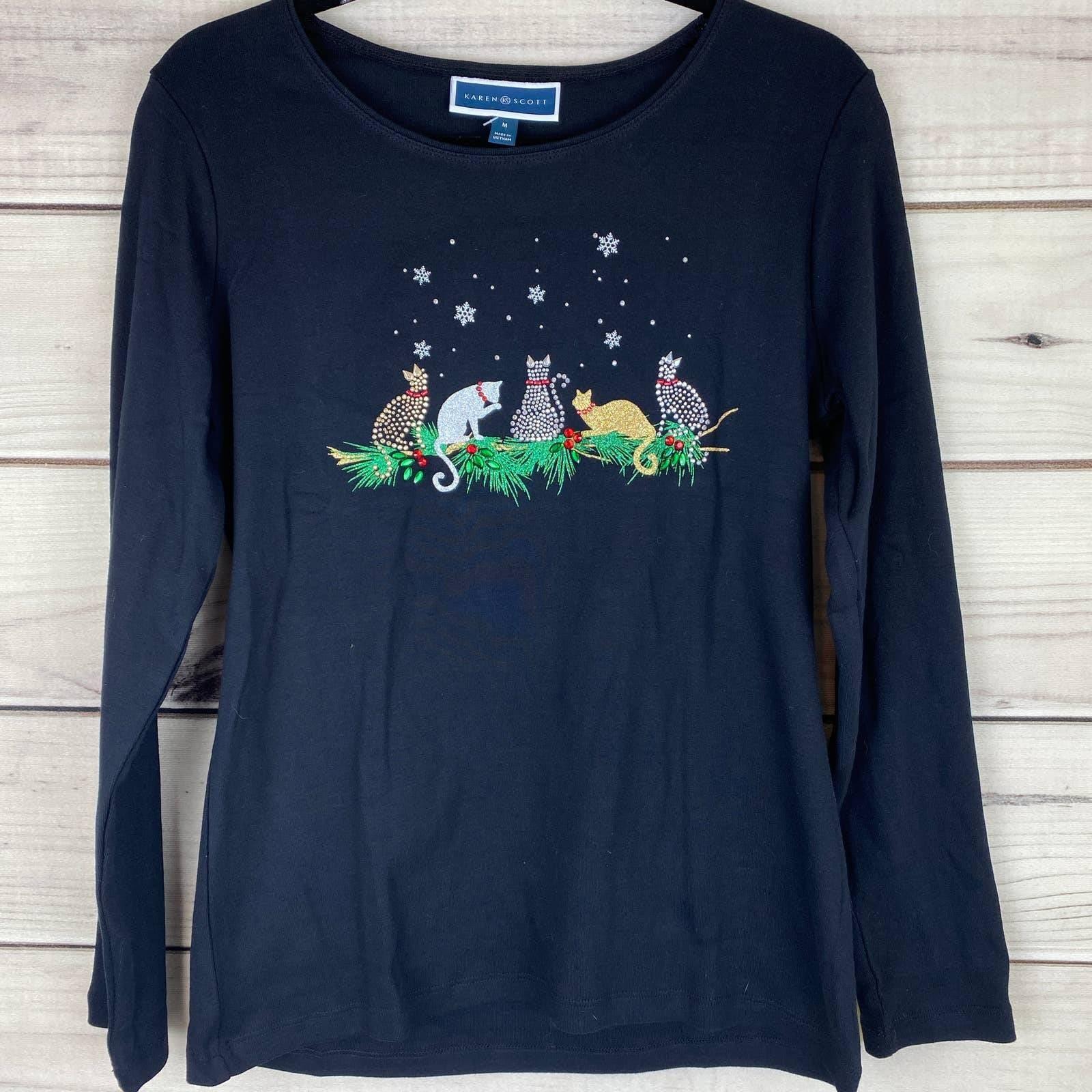 KAREN SCOTT Christmas Cats L/S Tee-Blk-M