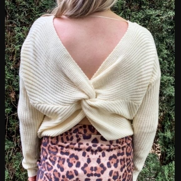 Pinkblush Cream Twist Back Knit Sweater