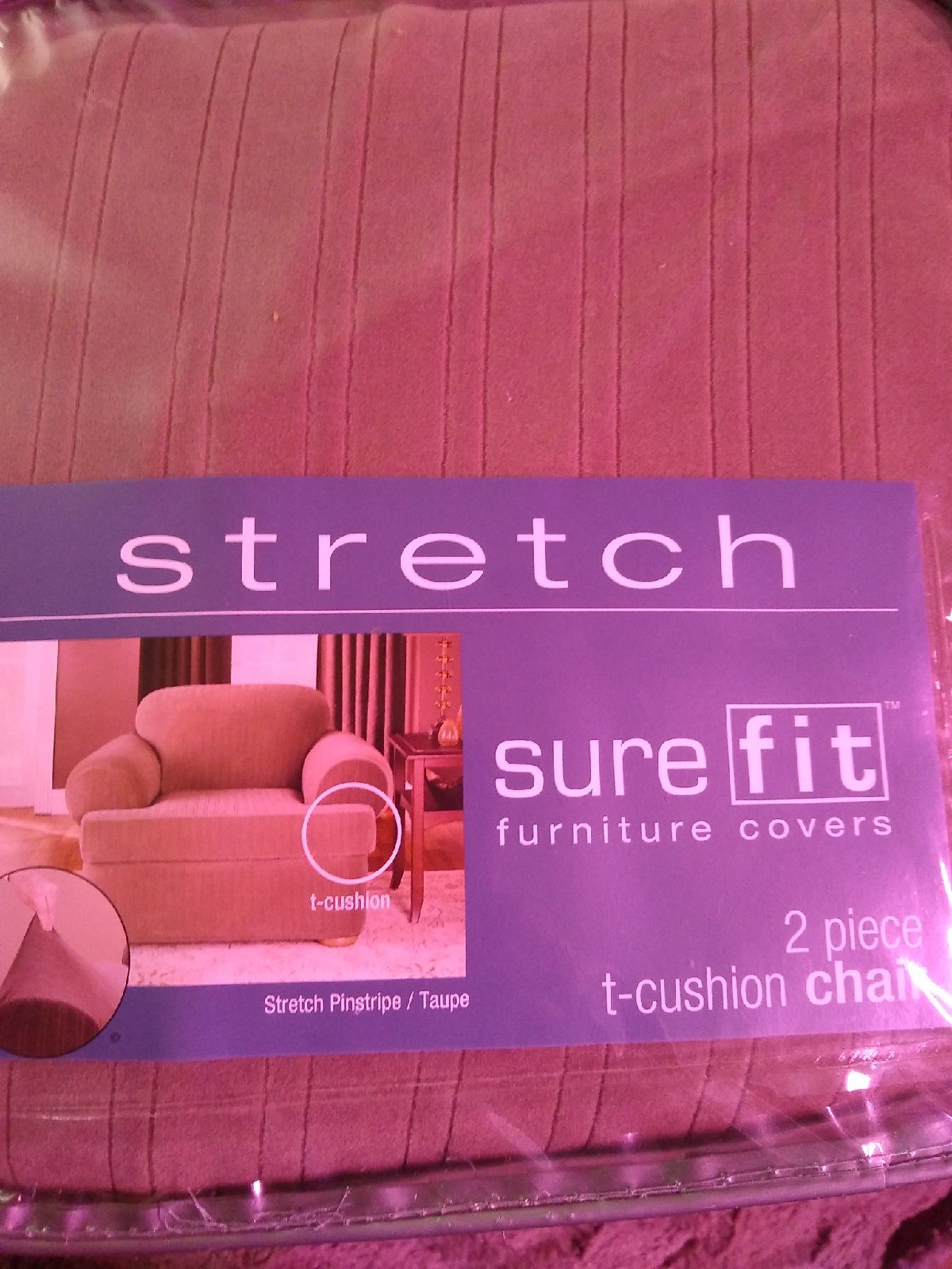 Sure Fit stretch pinstripe slipcover, ch