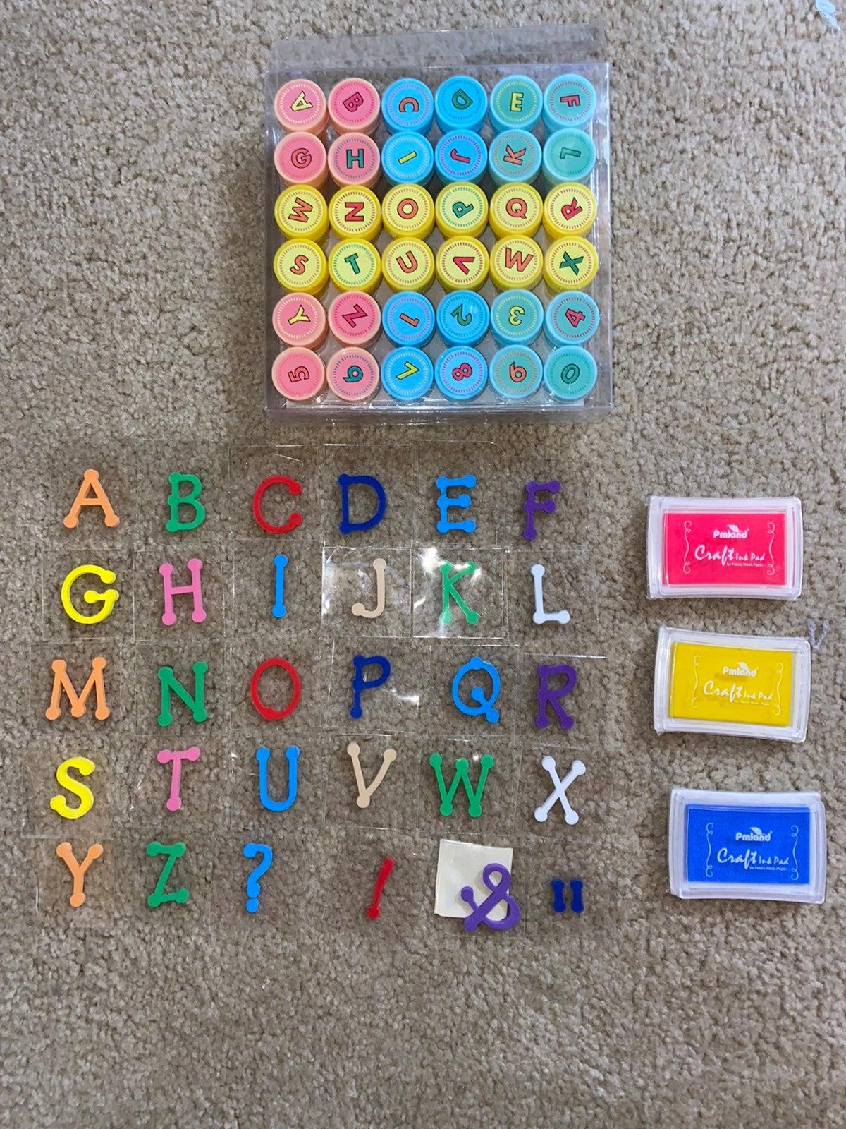 Alphabet abd number stamps ink pads