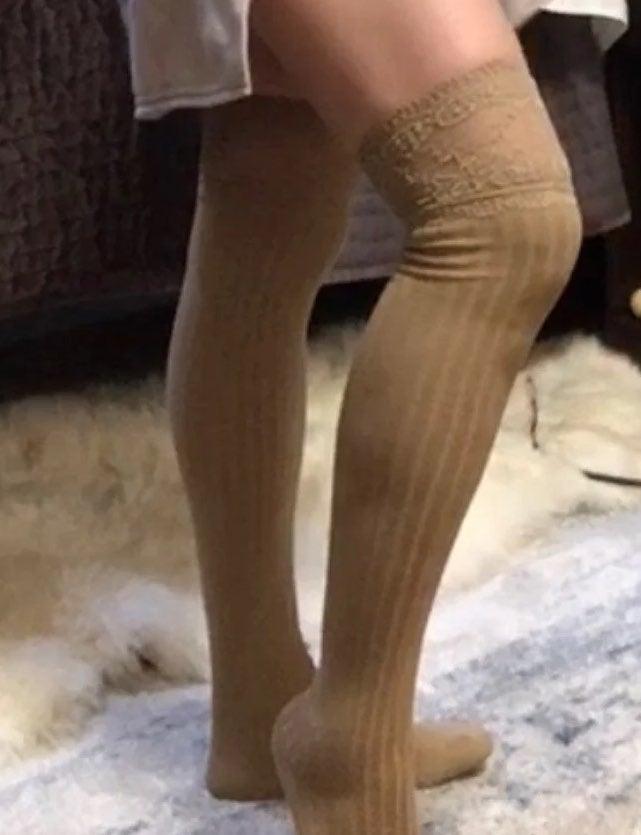 Ruffled Lace Thigh High Socks
