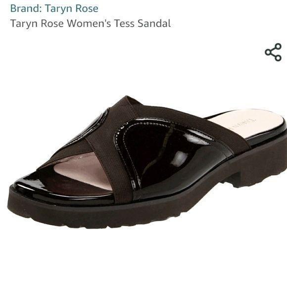 Taryn Rose Tess black slip on sandal 7