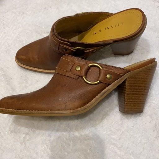 Gianni Bini Rusty Leather Heel Slide Mul