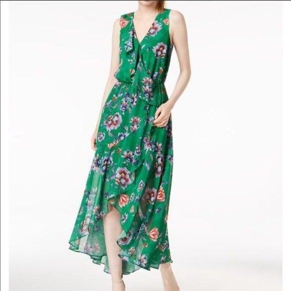 Bar III ruffle trim HI/LO green floral m