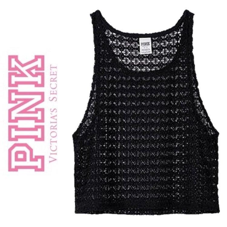 EUC Victoria's Secret PINK Crochet Tank