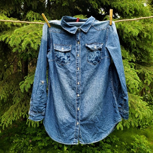 Floral Lace Button Down Denim Shirt