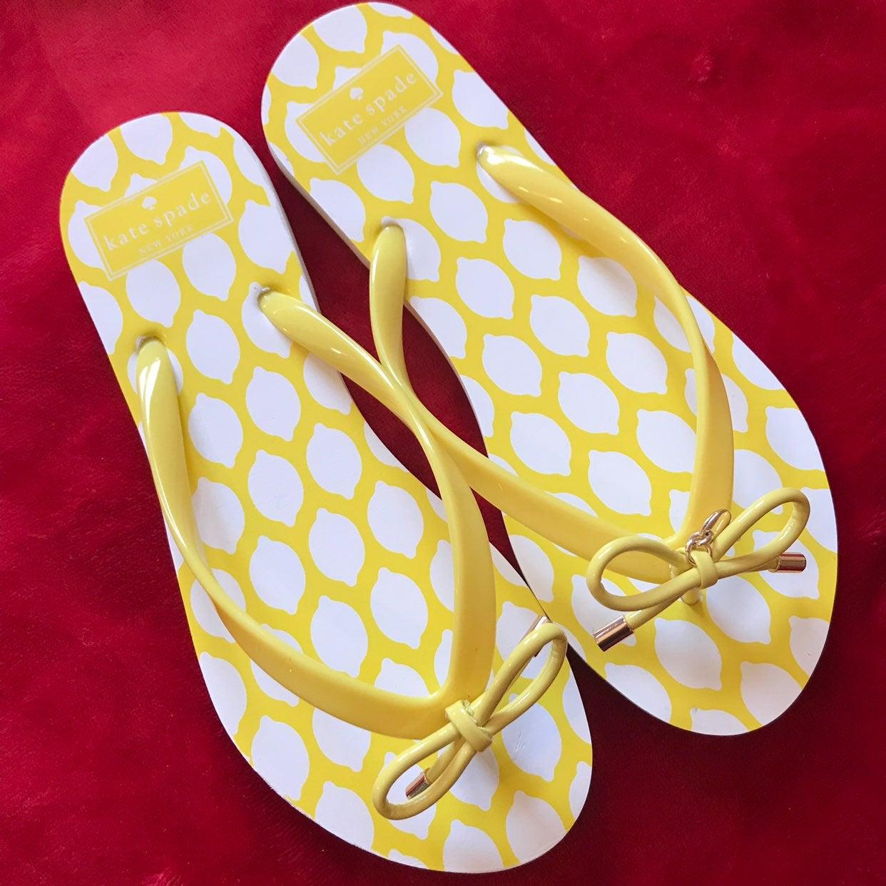 Kate Spade Nova Lemon Flip Flops Size 7