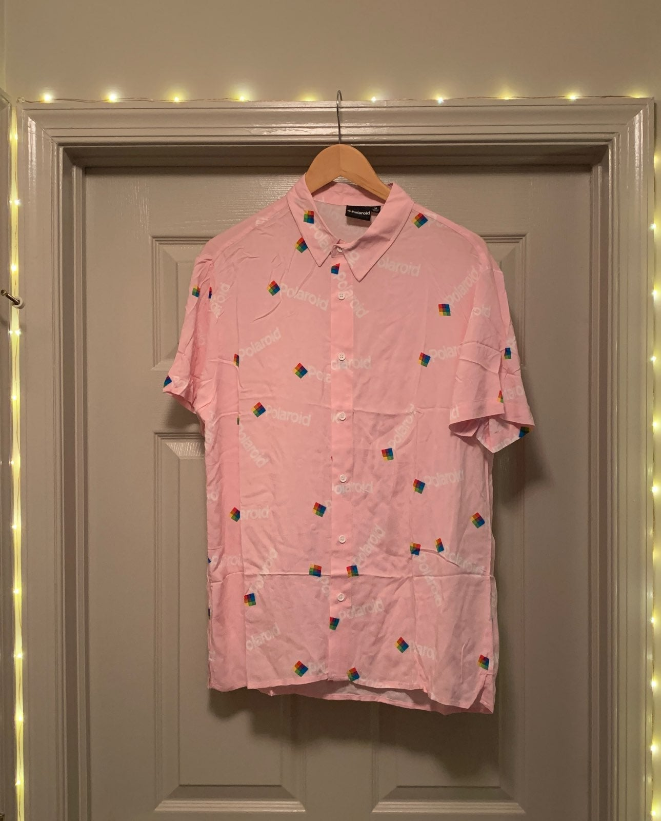 Pink Polaroid Button Front